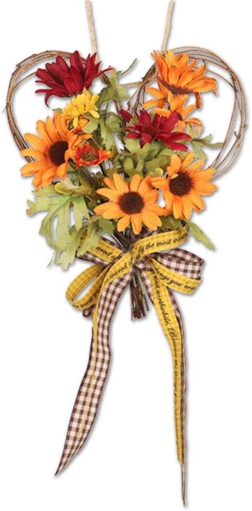 ampusanal Artificial Sunflower Wreath, Autumn Simulation Sunflower Wreath, Heart-Shaped Bow Decoration Wall Hanging Sunflower Wreath, Fall Decorations for Thanksgiving Halloween Christmas