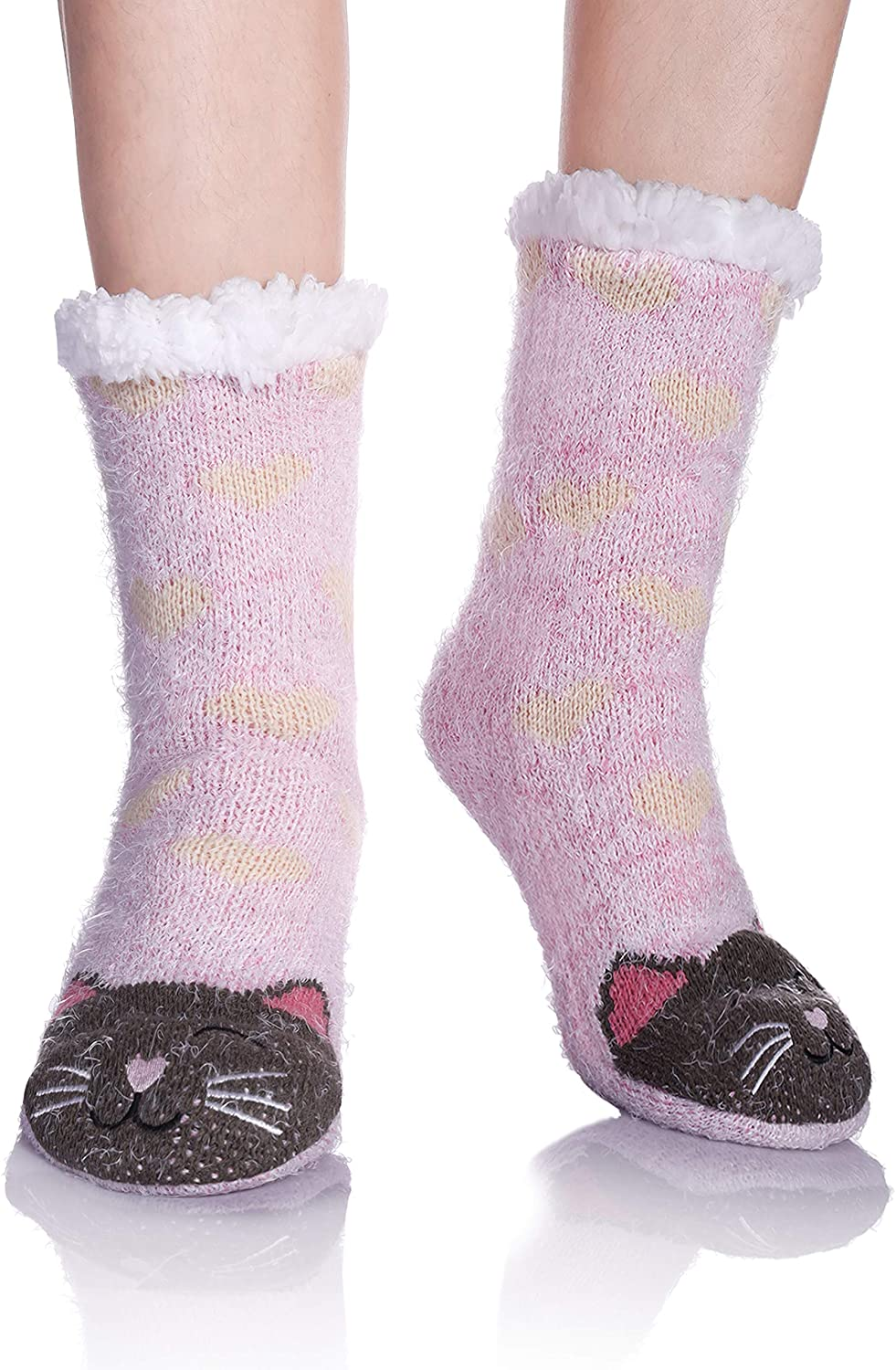 DOSKONI Womens Girls Fuzzy Slipper Socks Super Soft Fluffy Faux Fur Cute Animal Thick Fleece Lined Winter Socks with Grippers