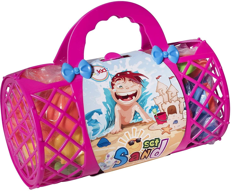 Beach Toys Mega Pack - Bulk Beach & Sandbox Play Set w/ Unique Crab, Shell & Sea Life Sand Molds, Shovel, Rake, Watering Can & Bonus Basket Carry Bag w/ Handles - Available in Pink or Blue