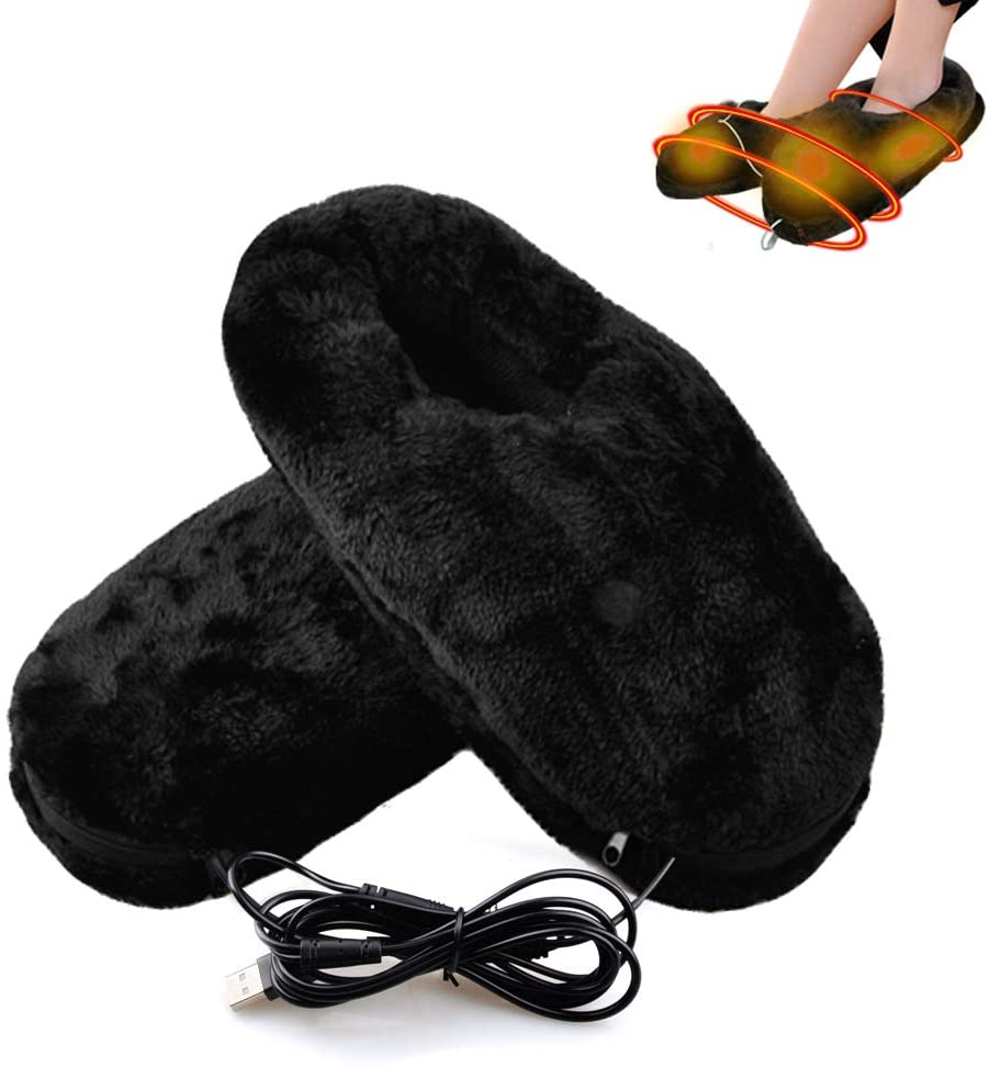 Heated Slippers, Kamlif USB Electric Heated Shoes, Comfortable Plush Cold Weather Shoes Winter Shoes Foot Warmer to Keep Feet Warm as Thanksgiving Christmas Gifts
