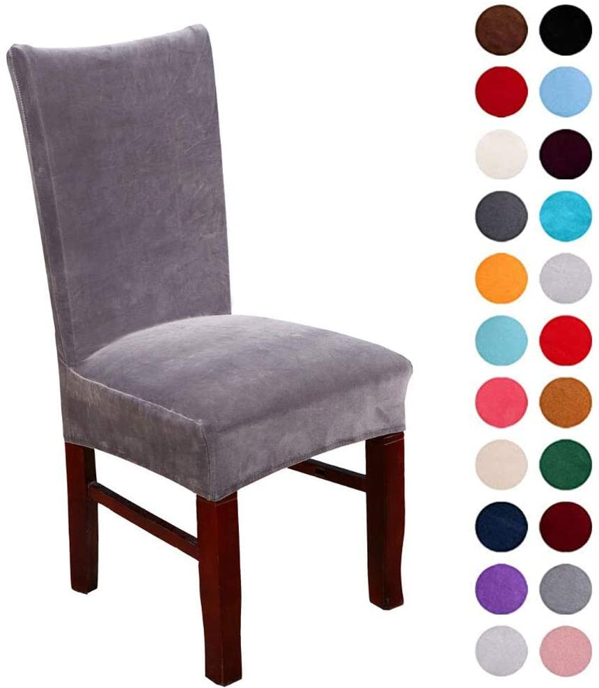 SoulFeel Spandex Velvet Chair Covers Stretch Dining Chair Slipcovers Spandex Plush Banquet Chair Seat Protector Slipcover Washable Covers for Home Decor (Pack of 4, Dark Gray)
