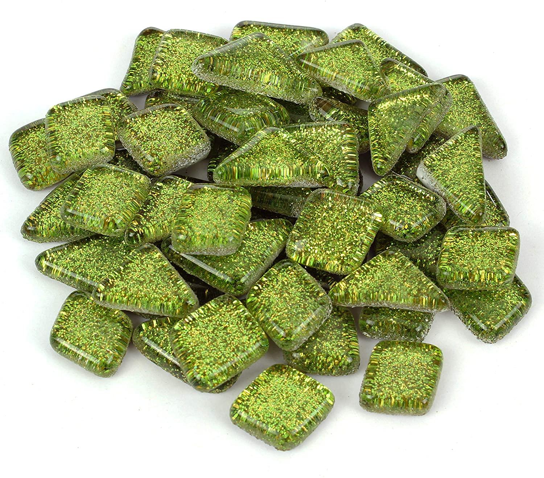 Milltown Merchants Lime Green Glitter Mosaic Tile Pieces - Bulk Sparkle Mosaic Tiles - 1 Pound (16 oz) Shimmer Tile Assortment for Backsplash, Murals, Stepping Stones, and Mosaics