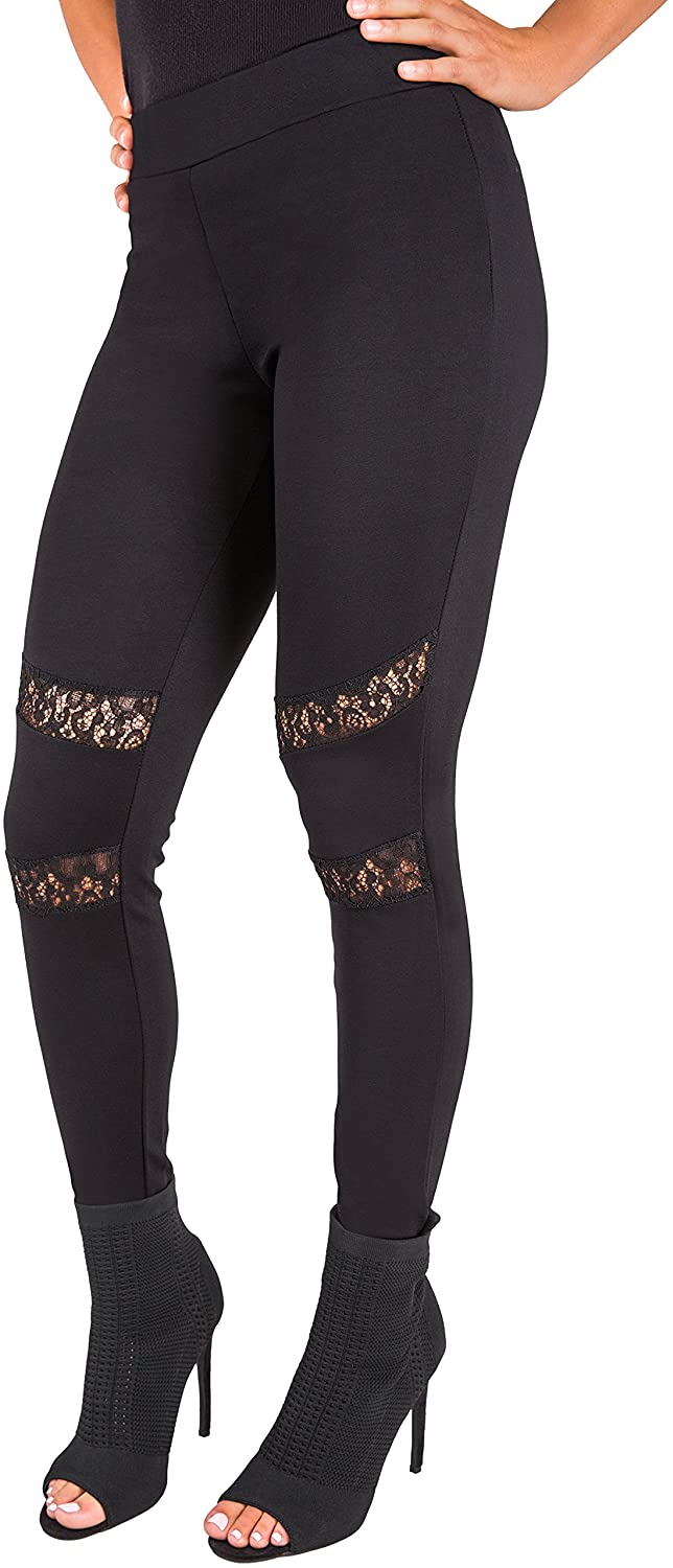 Poetic Justice Curvy Women's Black Peekaboo Lace Insets Pull On Ponte Legging