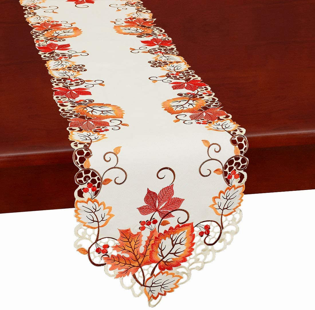 Simhomsen Large Thanksgiving Harvest Maple Leaves Table Runners, Autumn Or Fall Decorations, Embroidered (14 × 118 Inch)