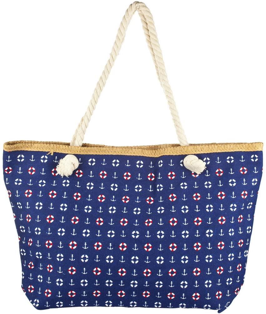 Lux Accessories Lux Accessories Womens Zip Up Beach Bag Navy Mix