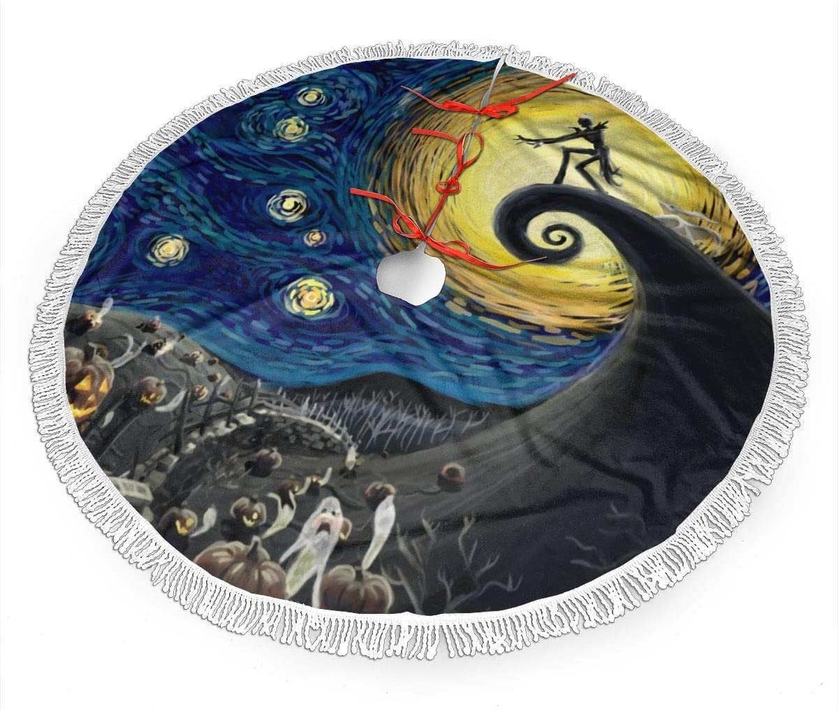 FUNINDIY Christmas Tree Skirt with Fringed Edge The Nightmare Before Christmas The Starry Night 48 Inch Xmas Tree Skirt Mat Christmas Decoration New Year Party Supply