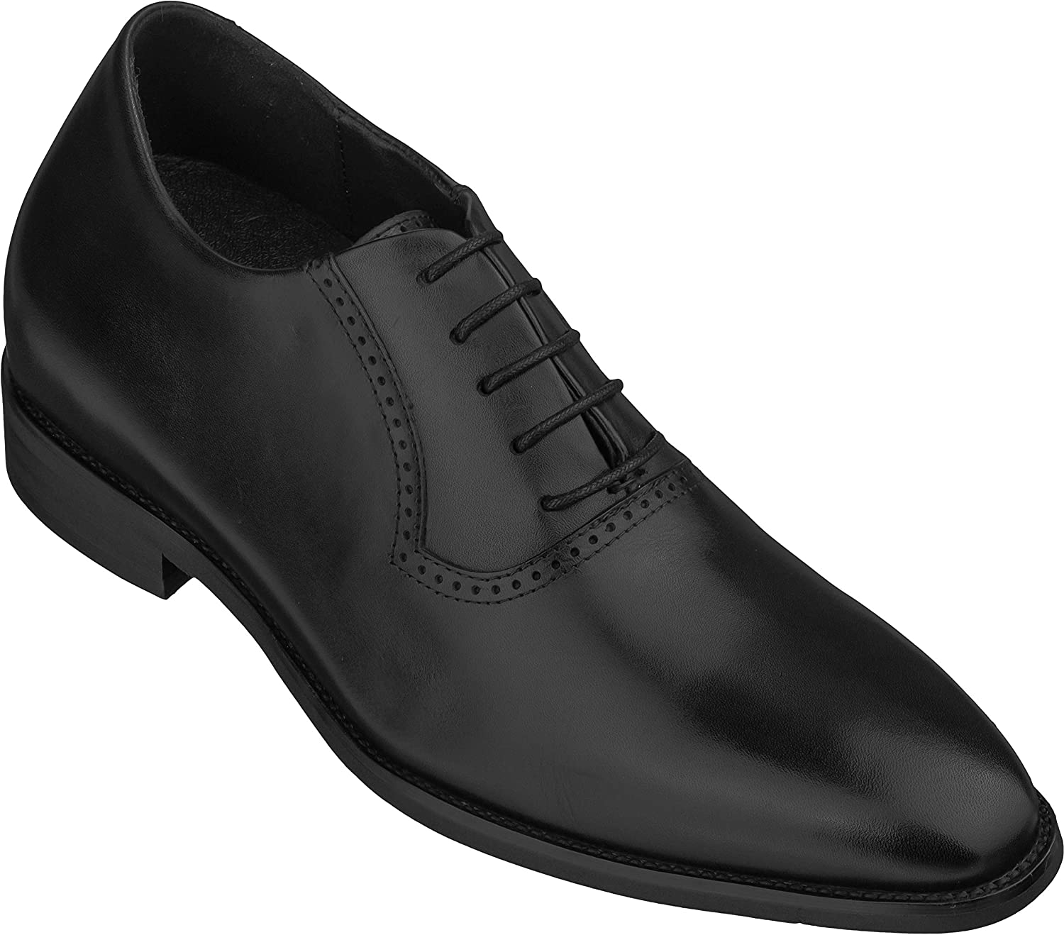 CALTO Men's Invisible Height Increasing Elevator Shoes - Black Premium Leather Lace-up Lightweight Formal Oxfords - 3 Inches Taller - S3503