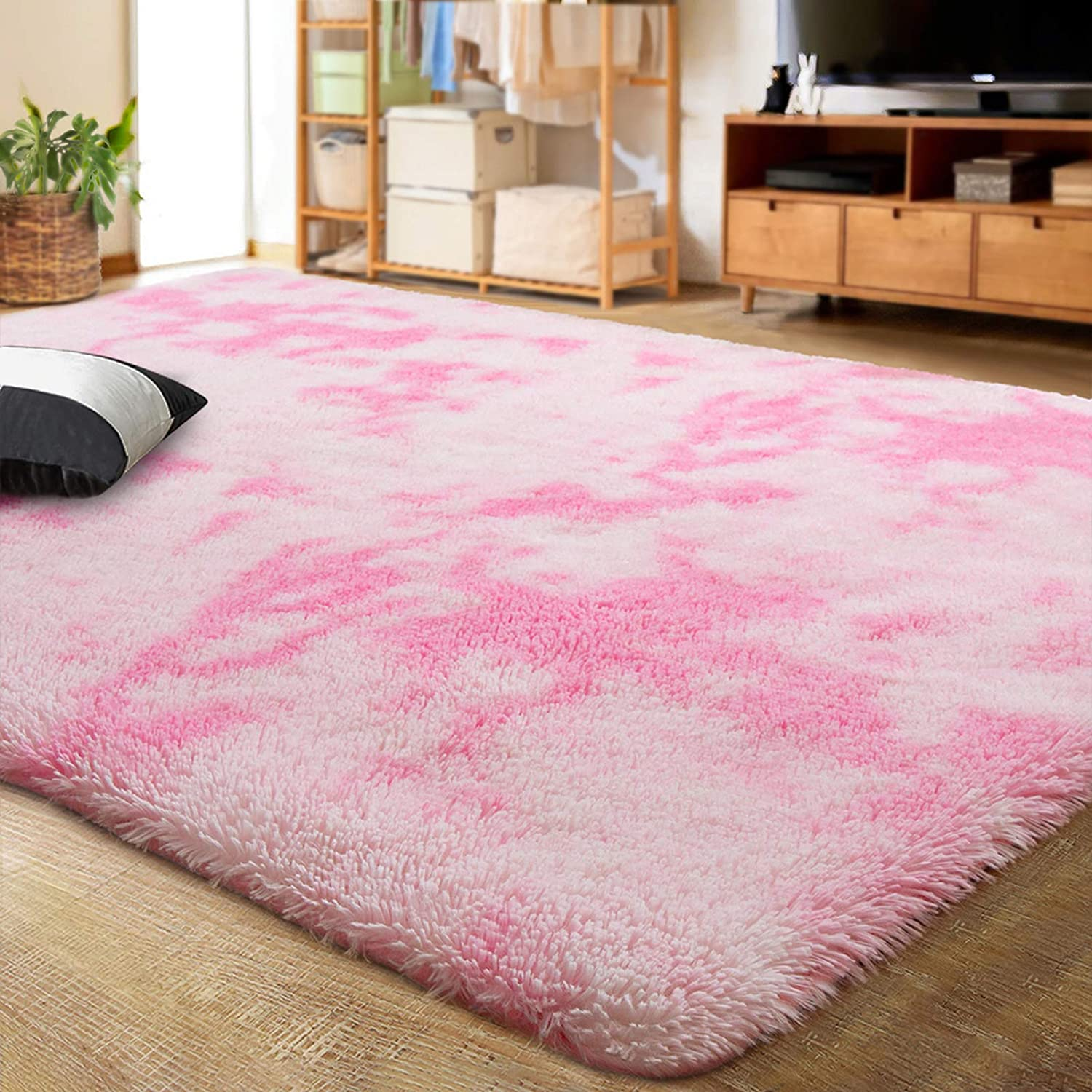 LOCHAS Luxury Velvet Shag Area Rug Modern Indoor Fluffy Rugs, Extra Comfy and Soft Carpet, Abstract Accent Rugs for Bedroom Living Room Dorm Home Girls Kids, 5x8 Feet Pink/White