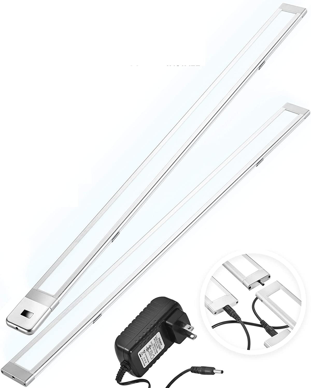 "2 x 24"" LED Under Cabinet Lighting Plug in - 4000K Linkable LED Closet Light Motion Activated – Dimmable Under Cabinet Lights & Under Counter Lights - Motion Sensor LED Light Bar for Kitchen & Shelf"