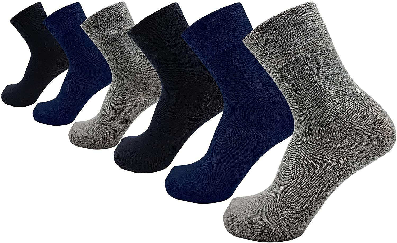Mens Premium Soft Dress Socks, 6 Pairs Cushioned Stretchy Bamboo Crew Socks Bulk Pack