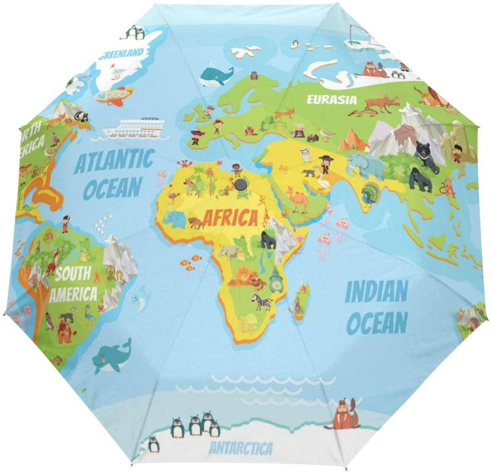 FORMRS Automatic Umbrella, Global Map with Cartoon Animals Umbrella Compact Lightweight, Waterproof Windproof for Sun Rain Travel