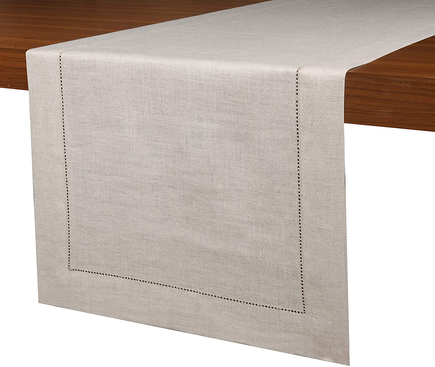 D'Moksha Homes 100% Pure Linen Hemstitch Table Runner - Vintage Natural 14 x 72 Inch, Natural Fabric European Flax, Machine Washable, Handcrafted Dresser Scarf with Mitered Corners, Great Gift Choice
