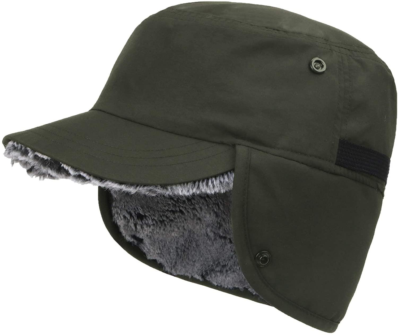 Connectyle Mens Winter Hat with Brim Warm Earflaps Hat Faux Fur Baseball Cap