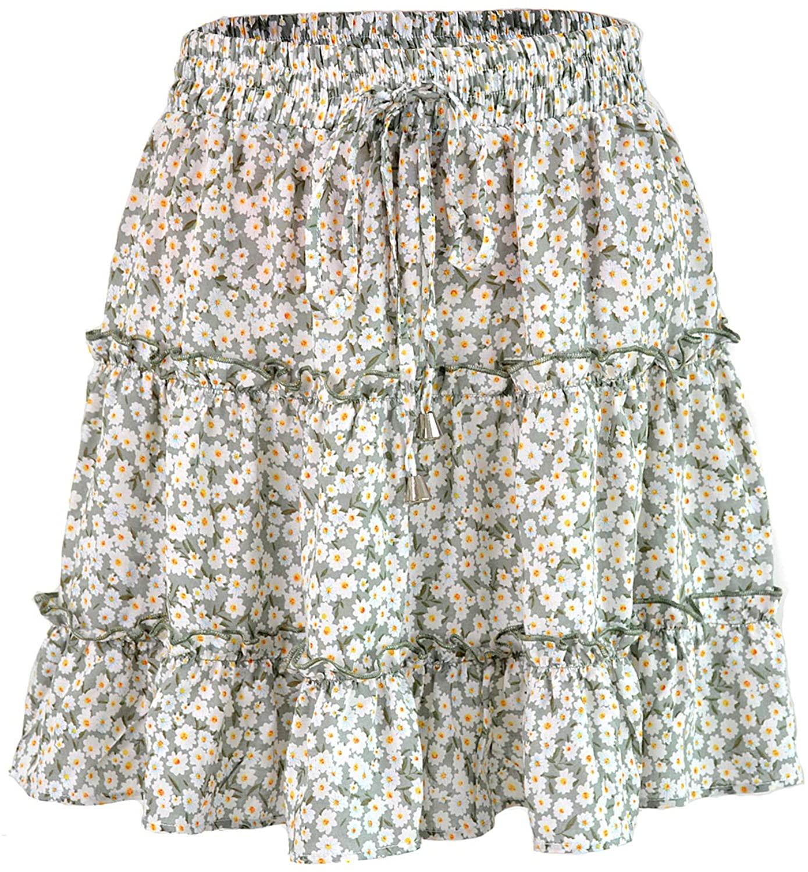 LYANER Women's Boho Elastic Waist Layered Ruffle A Line Mini Skirt