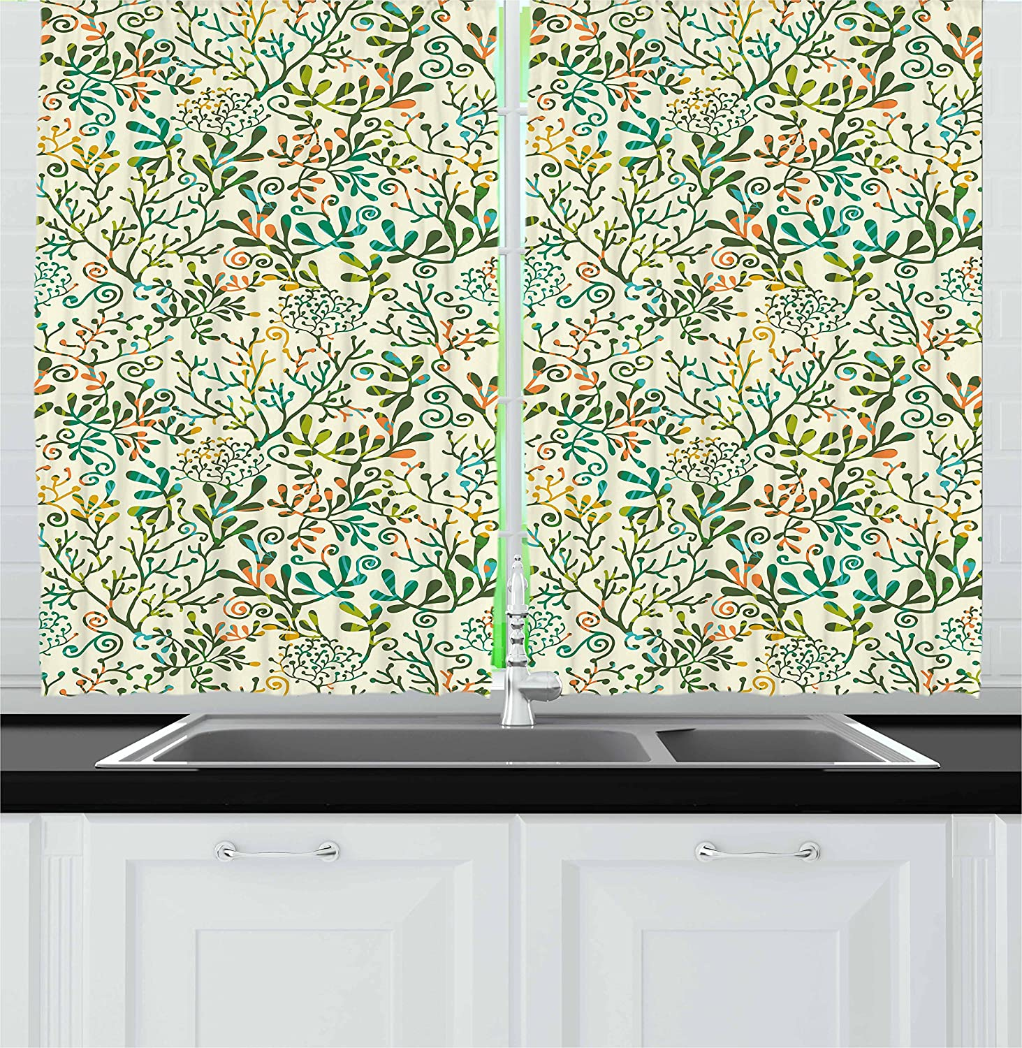 Lunarable Cream Kitchen Curtains, Colorful Exotic Plants Seaweed Corals Abstract Tropics Foliage Ornate, Window Drapes 2 Panel Set for Kitchen Cafe Decor, 55