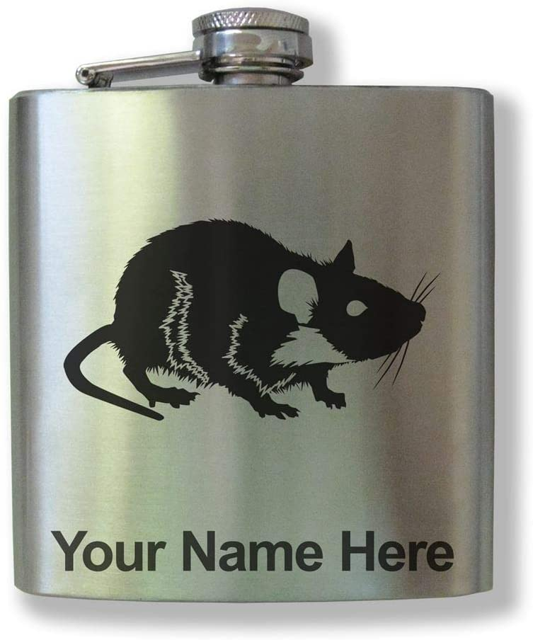 Stainless Steel Flask, Rat, Personalized Engraving Included