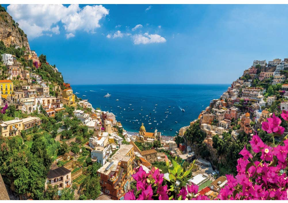 Leyiyi 8x6ft Famous Amalfi Coast Landscape Backdrop Positano Italy Town Coastal Port Scenery Photography Background Blue Sea Sky Flower Vinyl Photo Portrait Studio Prop
