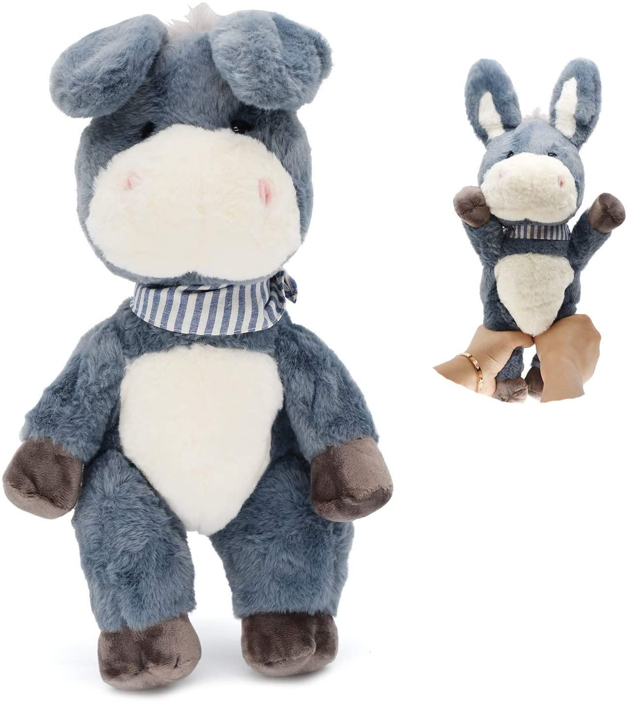 Soft Gasbag Plush Donkey Toys, 16 Stuffed Animals Dolls for Kids , Toddlers (Grey)