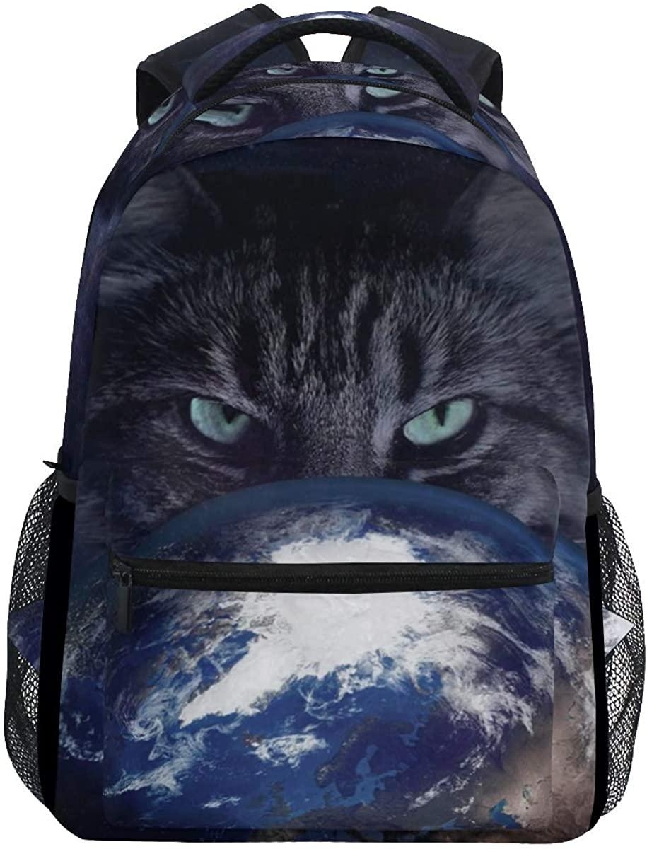 Cartoon Cat Earth Planet Backpack School Bookbag Rucksack Shoulder Book Bag for Boys Girls Women Travel Daypacks
