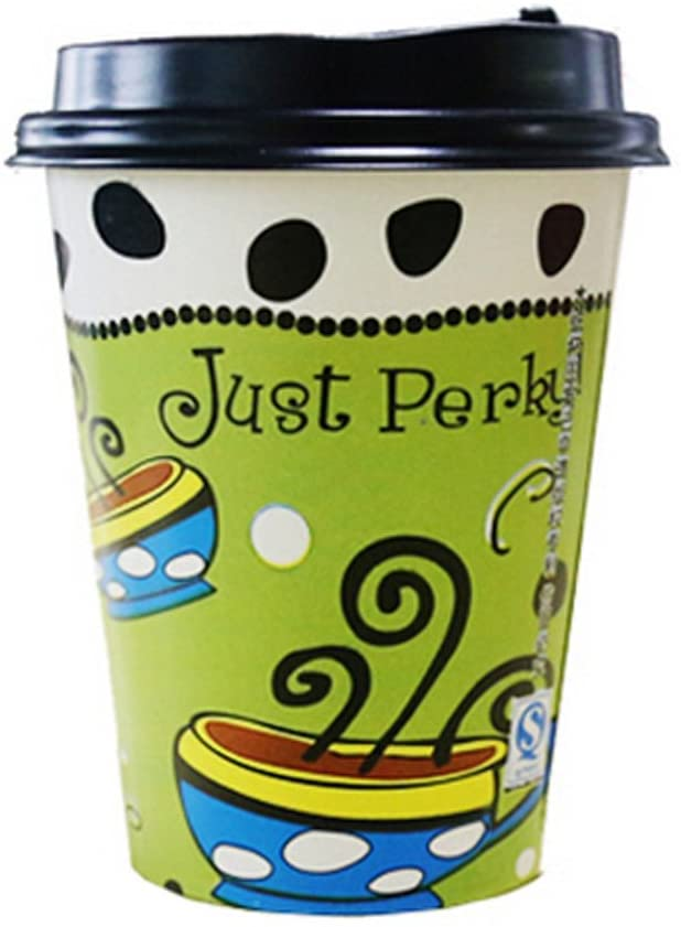 Kylin Express Creative Design 50 Count Paper Coffee Cups with Lids Disposable Cup 14 oz, No.2
