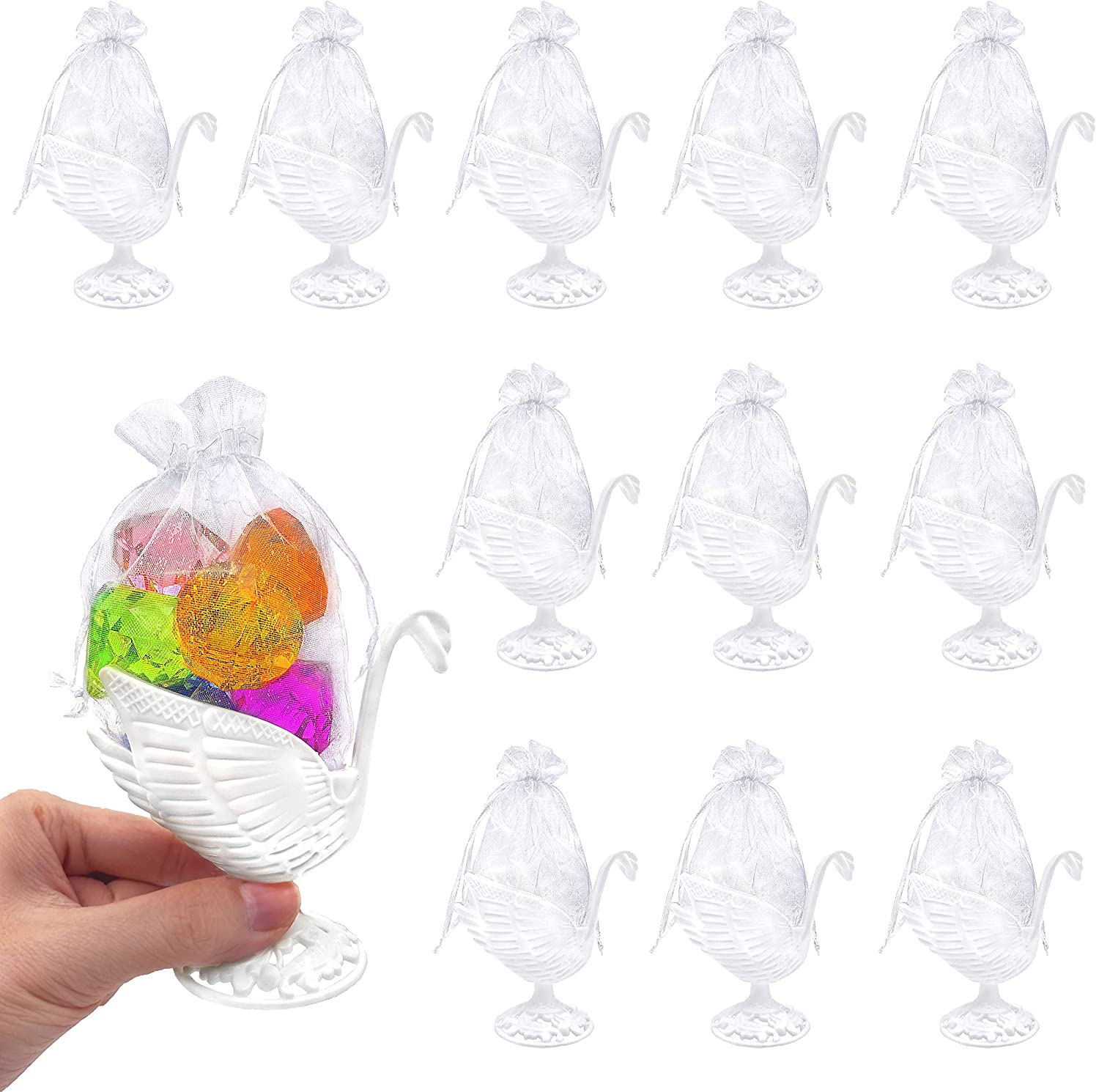 JC HUMMINGBIRD Fillable Swan with Pouch Party Favors, White, 12 Pieces