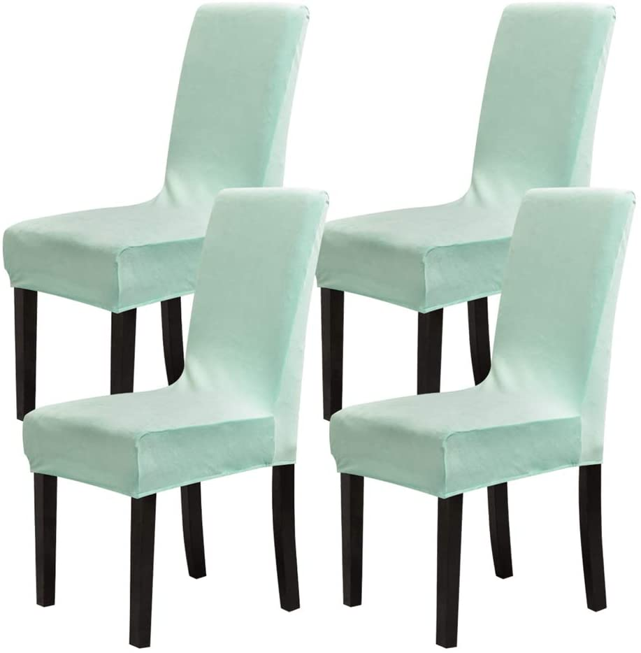 Mecerock Velvet Stretch Dining Room Chair Covers Soft Removable Dining Chair Slipcovers Set of 4 (Aqua Blue)