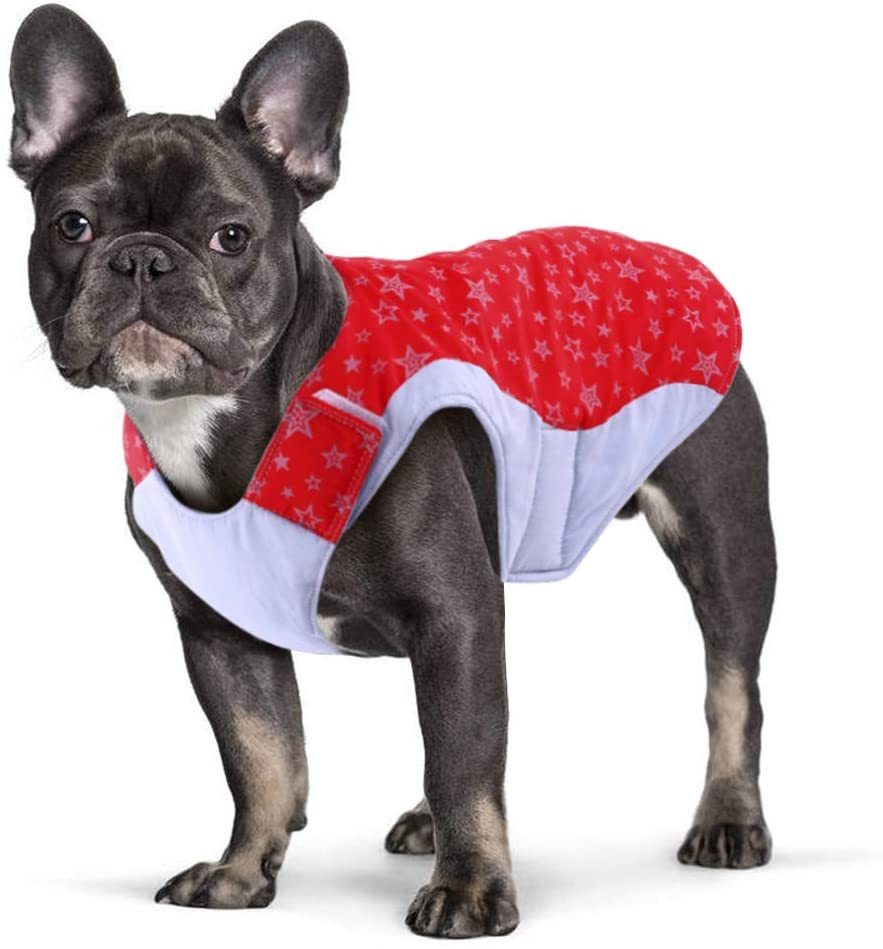 Dog Winter Coat Warm Cotton Vest,Dog Cold Weather Waterproof Windproof Jacket,Cozy Pet Outfit Apparel with Reflective Star Prints,Small Medium Dog's Outdoor Snowsuit Tracksuit for French Bulldog Pug