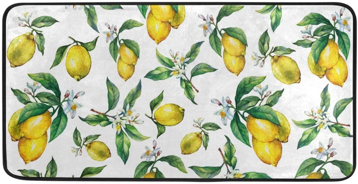 Kitchen Rugs and Mats Non-Slip Doormat Fresh Citrus Fruit Lemons Home Decor Floor Rug Standing Mat, Washable Hypoallergenic Waterproof (39
