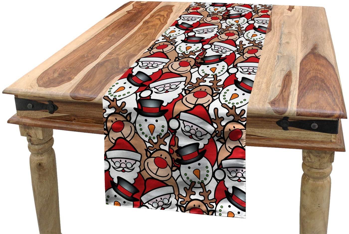 Ambesonne Christmas Table Runner, Snowman Reindeer Santa Claus Cartoon Image Theme Winter, Dining Room Kitchen Rectangular Runner, 16