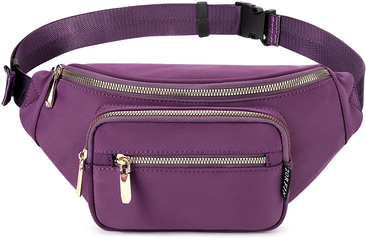 ZORFIN Fanny Pack Nylon Water Resistant Waist Bag Pack for Women (Purple2)