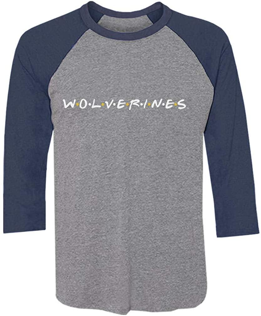 University of Michigan Wolverines Friends 3/4 Sleeve Baseball Jersey Shirt