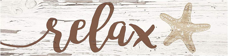 P. Graham Dunn Relax Starfish Weathered Cream 6 x 1.5 Mini Pine Wood Tabletop Sign Plaque