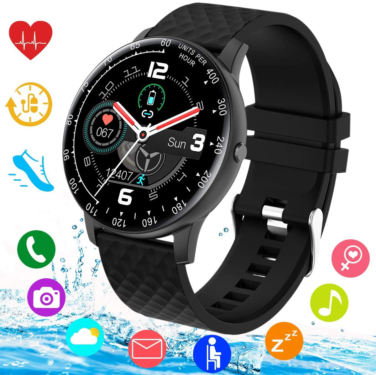 Smart Watch,Smartwatch for Android Phones,IP67 Waterproof Sport Fitness Watch with Blood Pressure Heart Rate Monitor Activity Tracker Bluetooth Smartwatches with Calorie for Samsung iOS Women Men