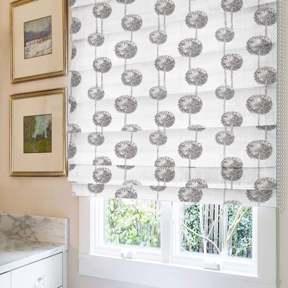 Roman Shades Window Shades, Dandelion Blackout Light Filtering Custom Window Roman Blinds, 10% Linen Fabric Roman Shades for Windows, French Doors, Doors, Kitchen Windows
