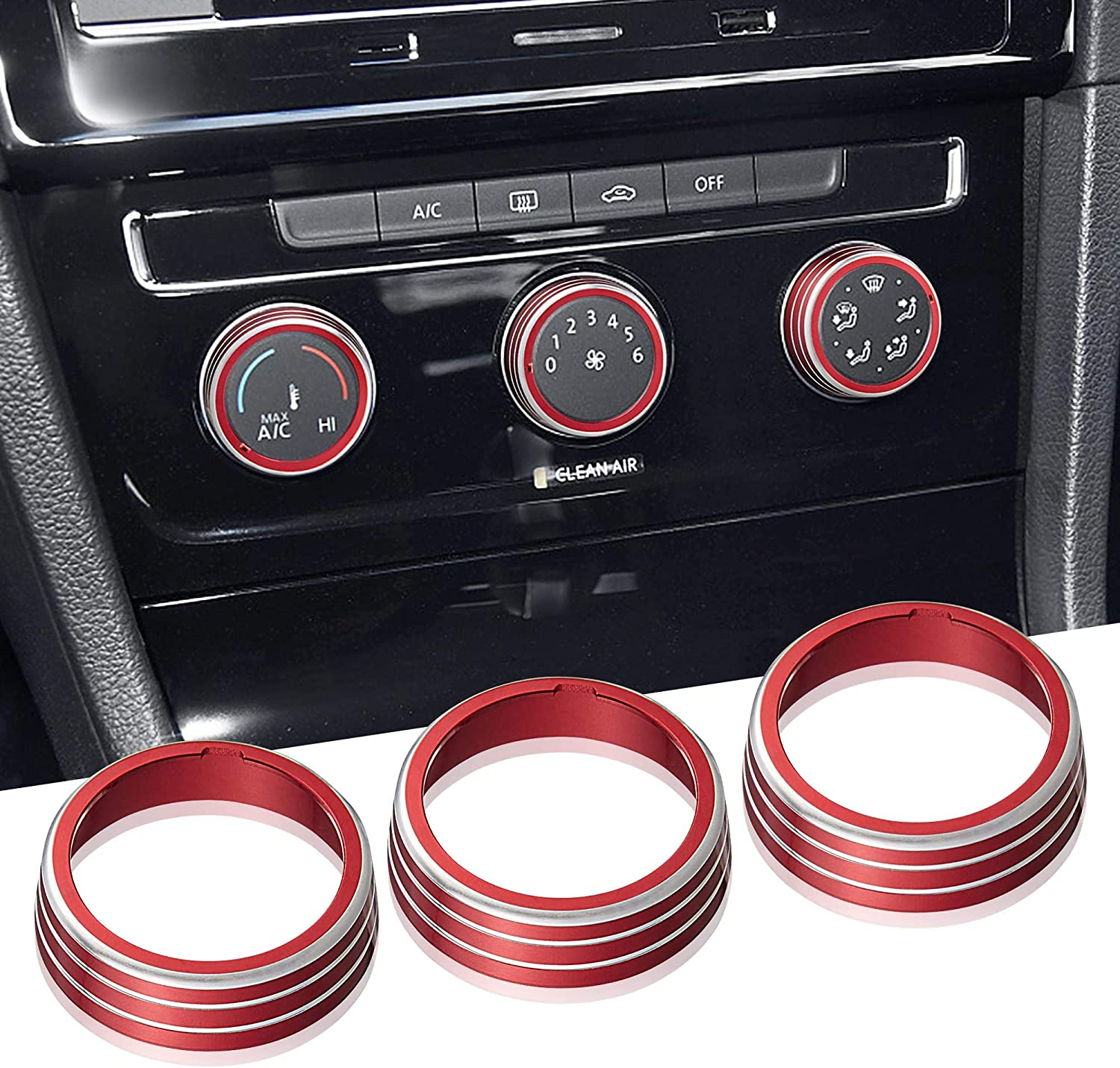 TOMALL 3pcs Aluminum Centre Console Cover Compatible with Volkswagen MK7 Golf GTI AC Air Conditioning Knob Button Cover Trim Decoration Ring (Red)