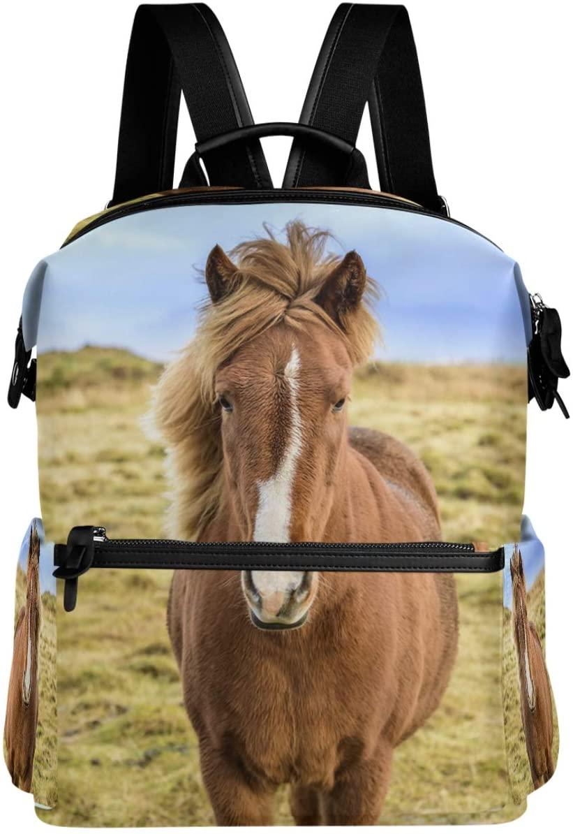 Oarencol 3D Brown Horse Animal Backpack School Book Bag Travel Hiking Camping Laptop Daypack