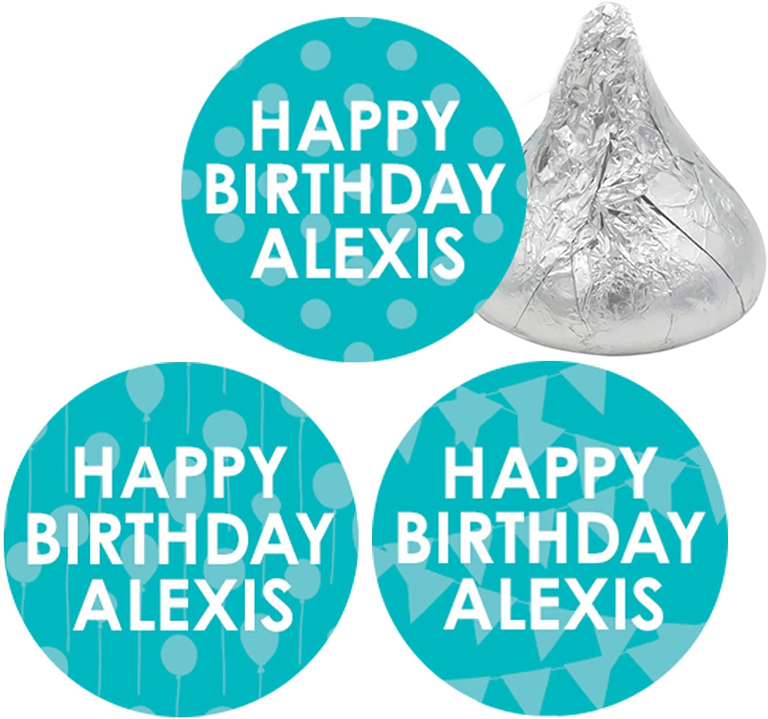 Personalized Happy Birthday Party Favor Stickers with Name - 180 Labels (Teal)