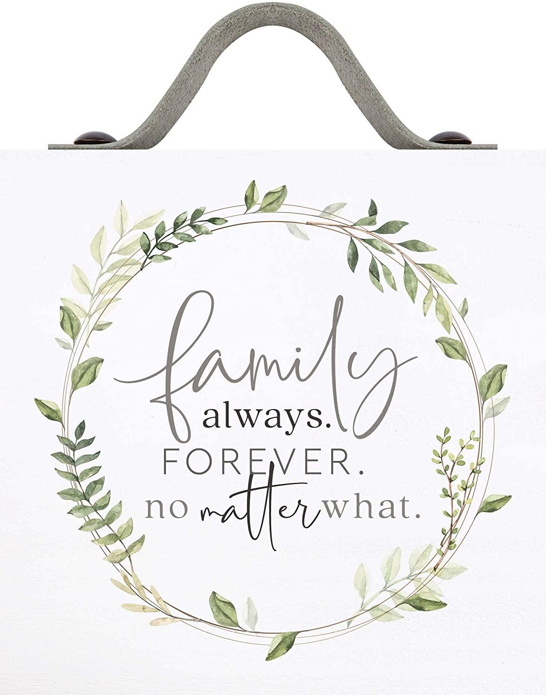 P. Graham Dunn Family Always Forever Classic White 5.5 x 5.5 Pine Wood Tabletop Word Block Sign