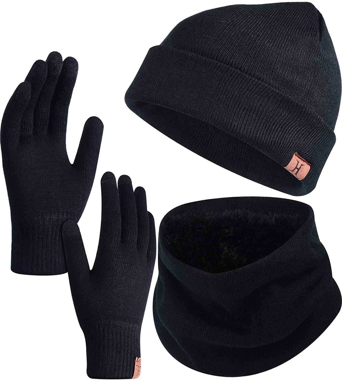 3 Piece Winter Warm Set Beanie Hat Knitted Scarf Touchscreen Gloves