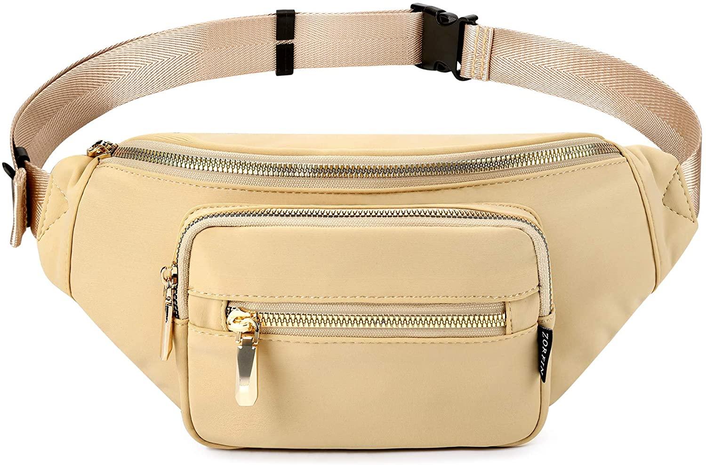 ZORFIN Fanny Pack Nylon Water Resistant Waist Bag Pack for Women (Khaki)