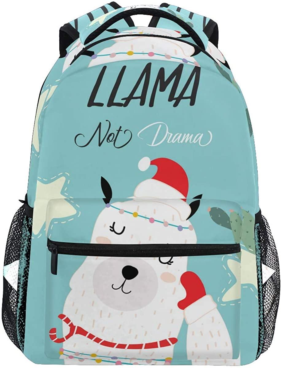 School Backpack Blue Pink Llama Bookbag for Boys Girls Teens Casual Travel Bag Computer Laptop Daypack
