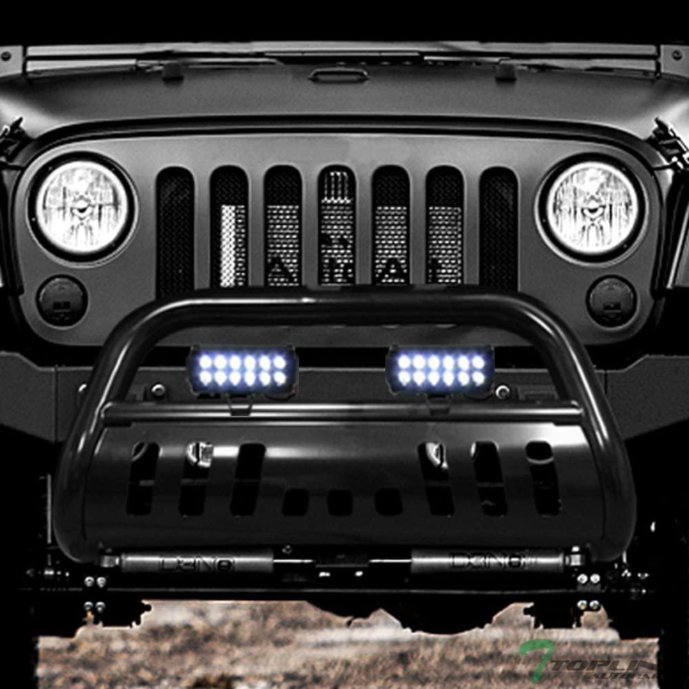Topline Autopart Black Bull Bar Brush Push Bumper Grill Grille Guard With Skid Plate + 36W CREE LED Fog Lights For 10-18 Jeep Wrangler JK