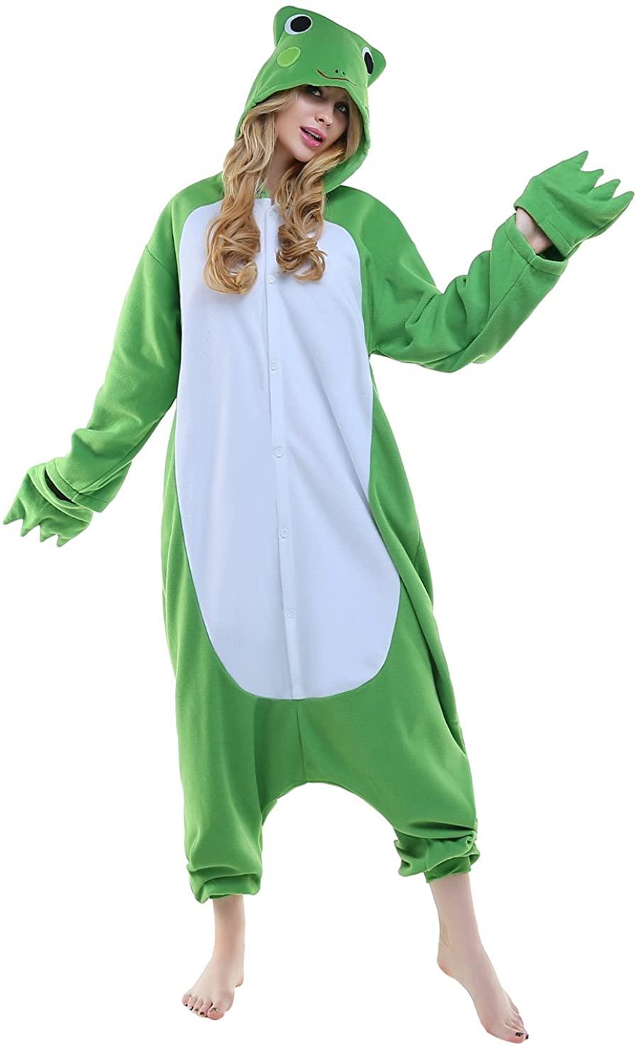 NEWCOSPLAY Adult Unisex Frog Onesie Pajama Costume