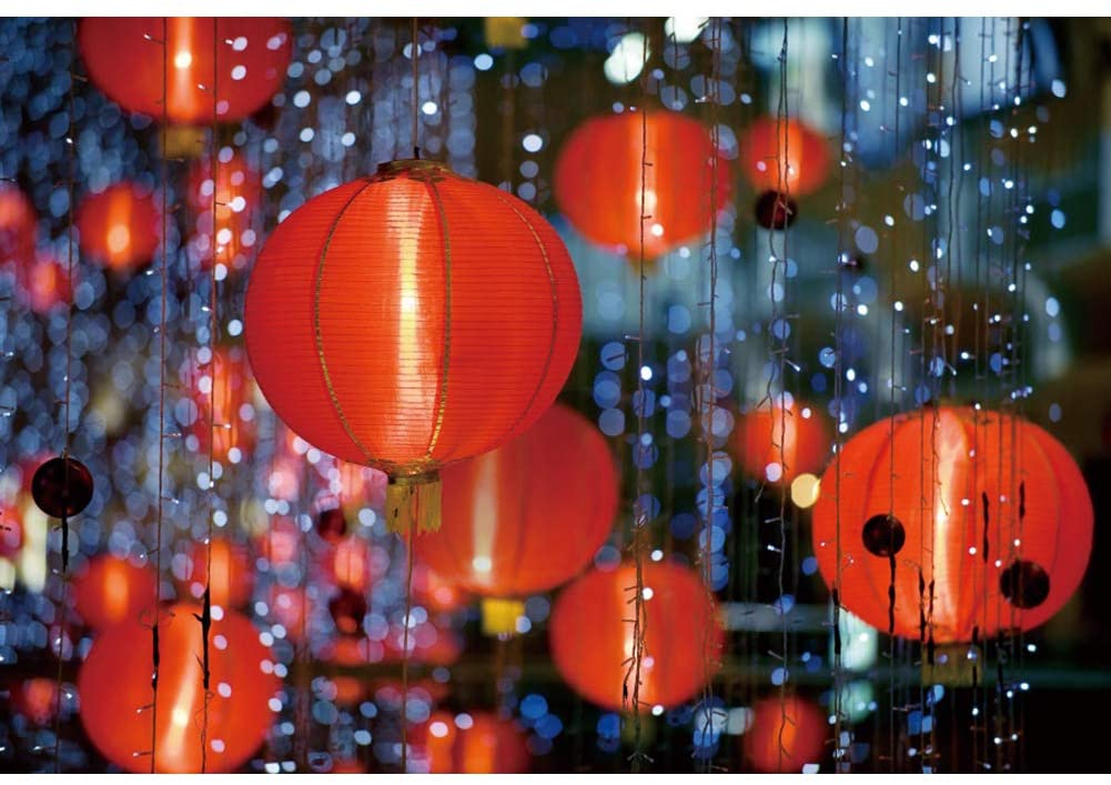 Leyiyi 5x3ft Happy New Year Photography Backdrops Red Lanterns Neon Lights Backdrop Traditional Chinese Decoration New Year Events Decor Chinese Style Photos Props