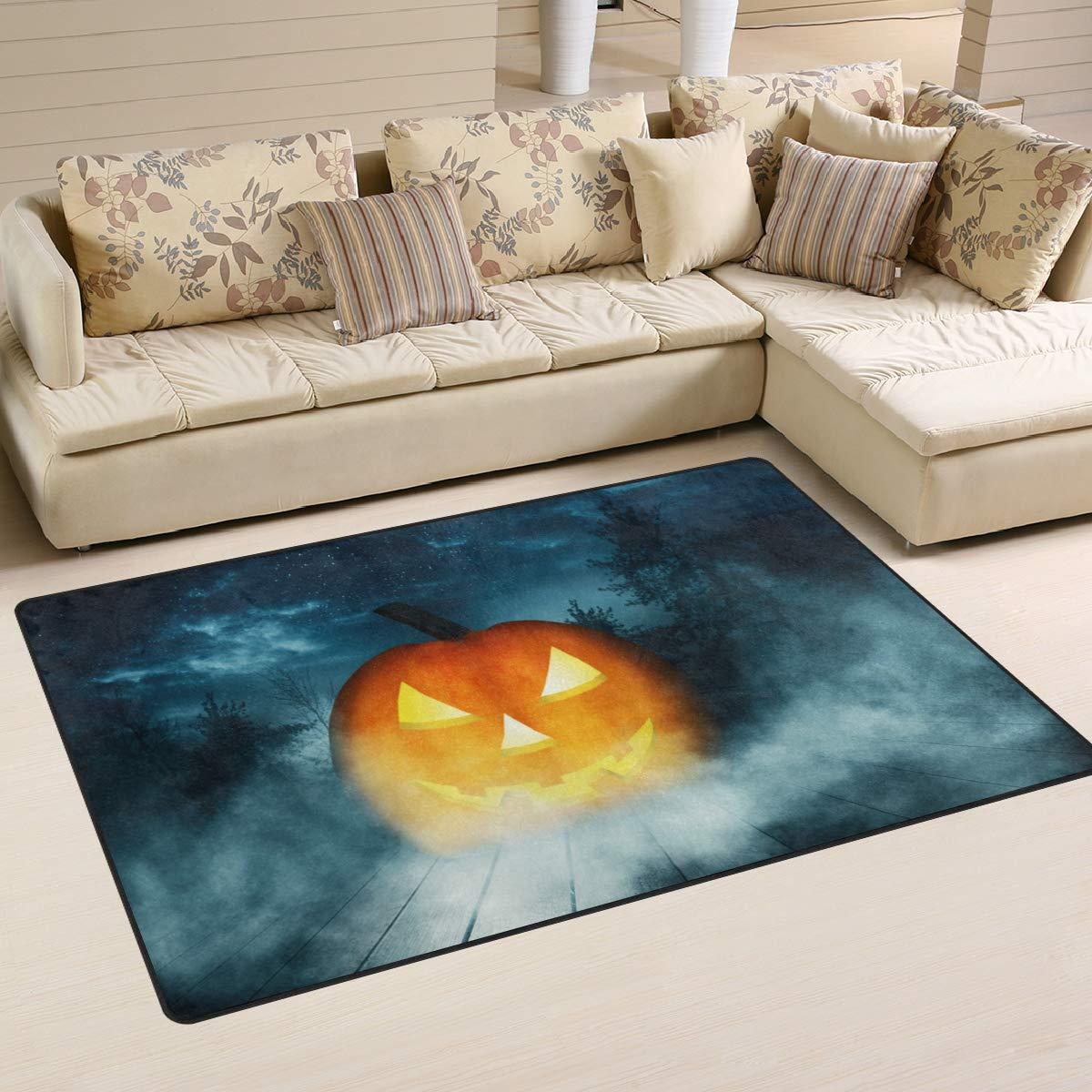 ALAZA Pumpkin Halloween Wooden Non Slip Area Rug 2' x 3', Modern Floor Rugs Mat for Living Room Bedroom Dinning Room Home Decor