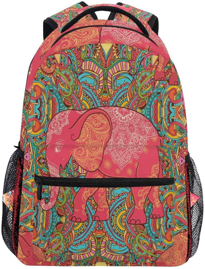 Kaariok Paisley Elephant Animal Flower Print Backpack Bookbags Daypack Travel School College Bag for Womens Mens Teens