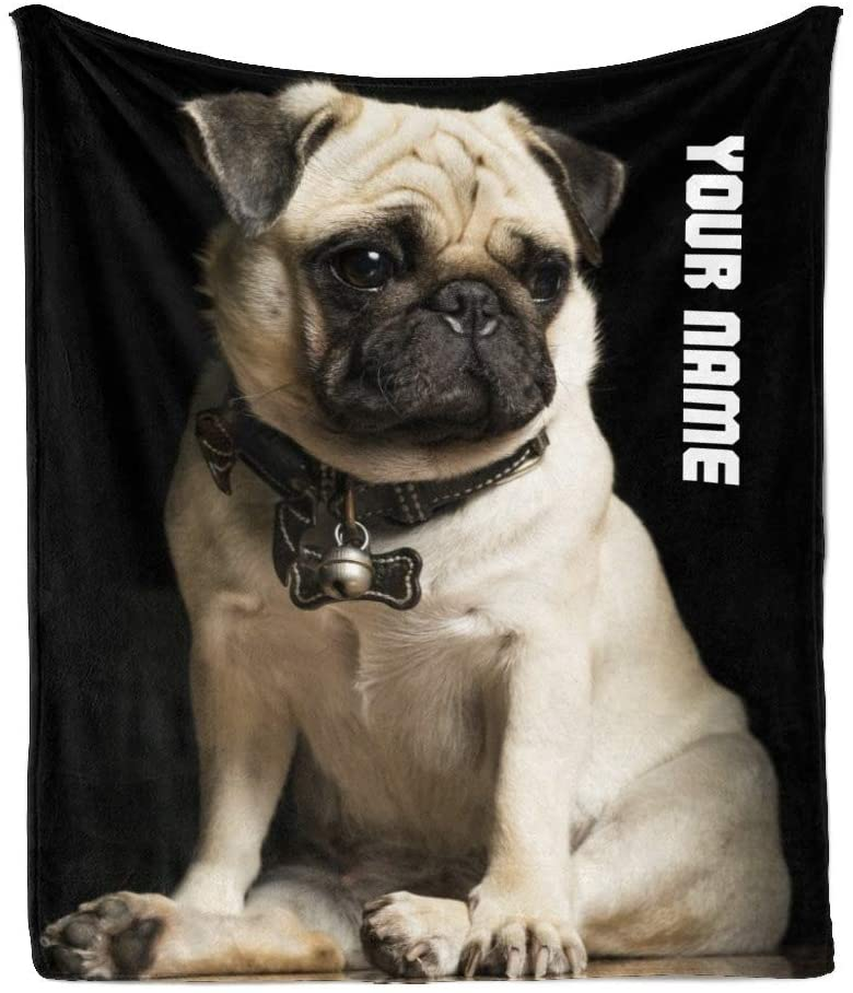 CUXWEOT Custom Blanket with Your Name Text,Personalized Pug Dog Super Soft Fleece Throw Blanket for Couch Sofa Bed (50 X 60 inches)