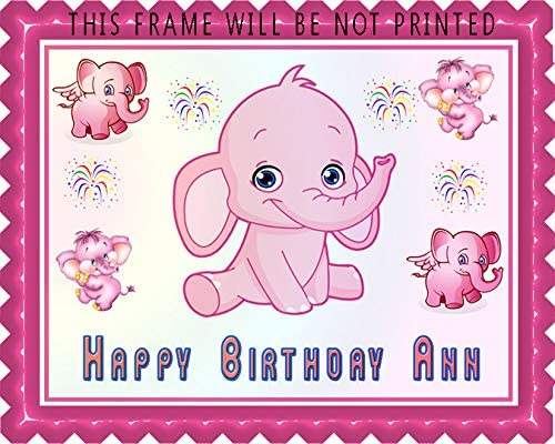 Pink Elephant - Edible Cake Topper - 7.5