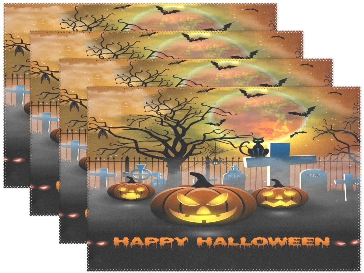 WOZO Happy Halloween Spooky Pumpkin Ghost Placemat Table Mat 12