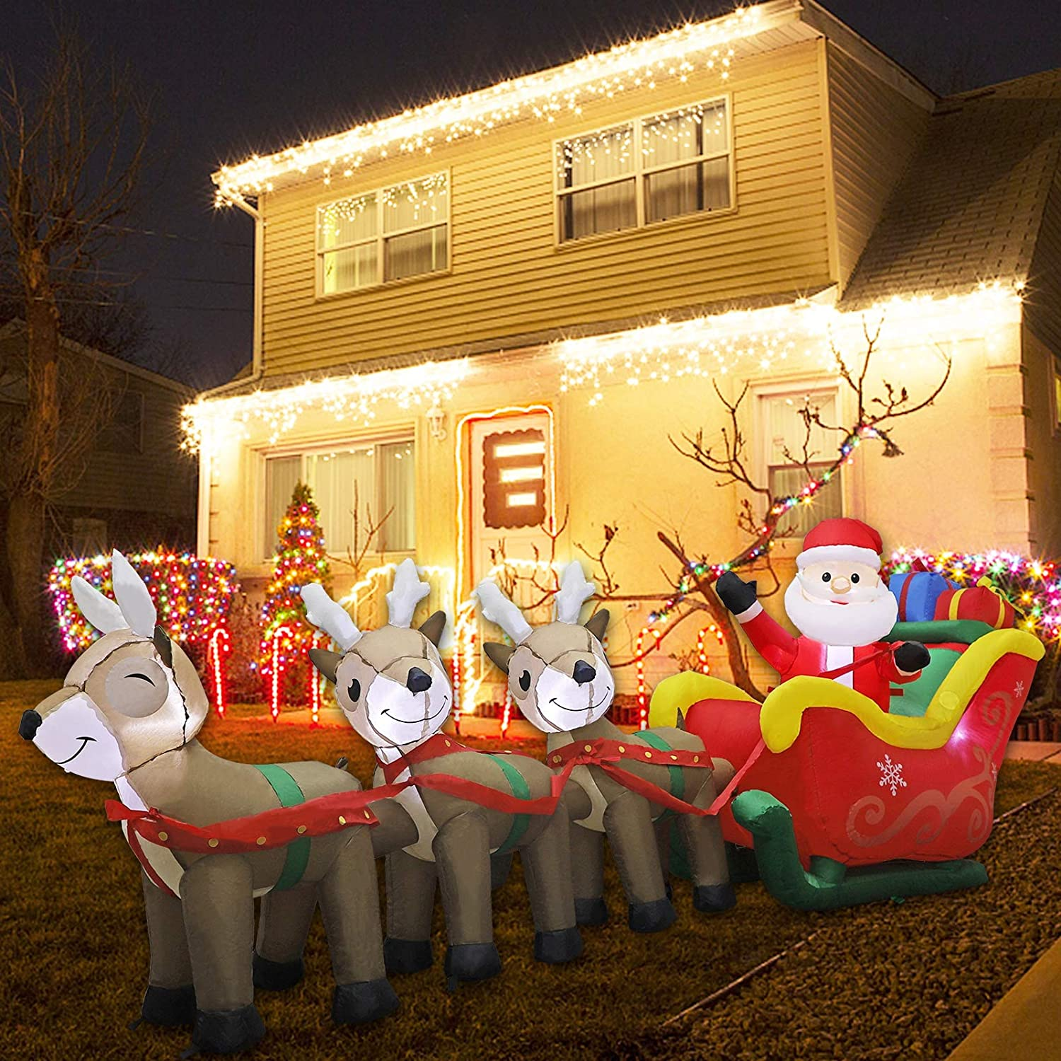 MorTime 9.5 FT Christmas Inflatable Santa Claus on Sleigh Pulled by Three Reindeers with Gift Boxes, Blow up Airblown Lighted Xmas Yard Decor with LED Lights for Christmas Outdoor Decorations